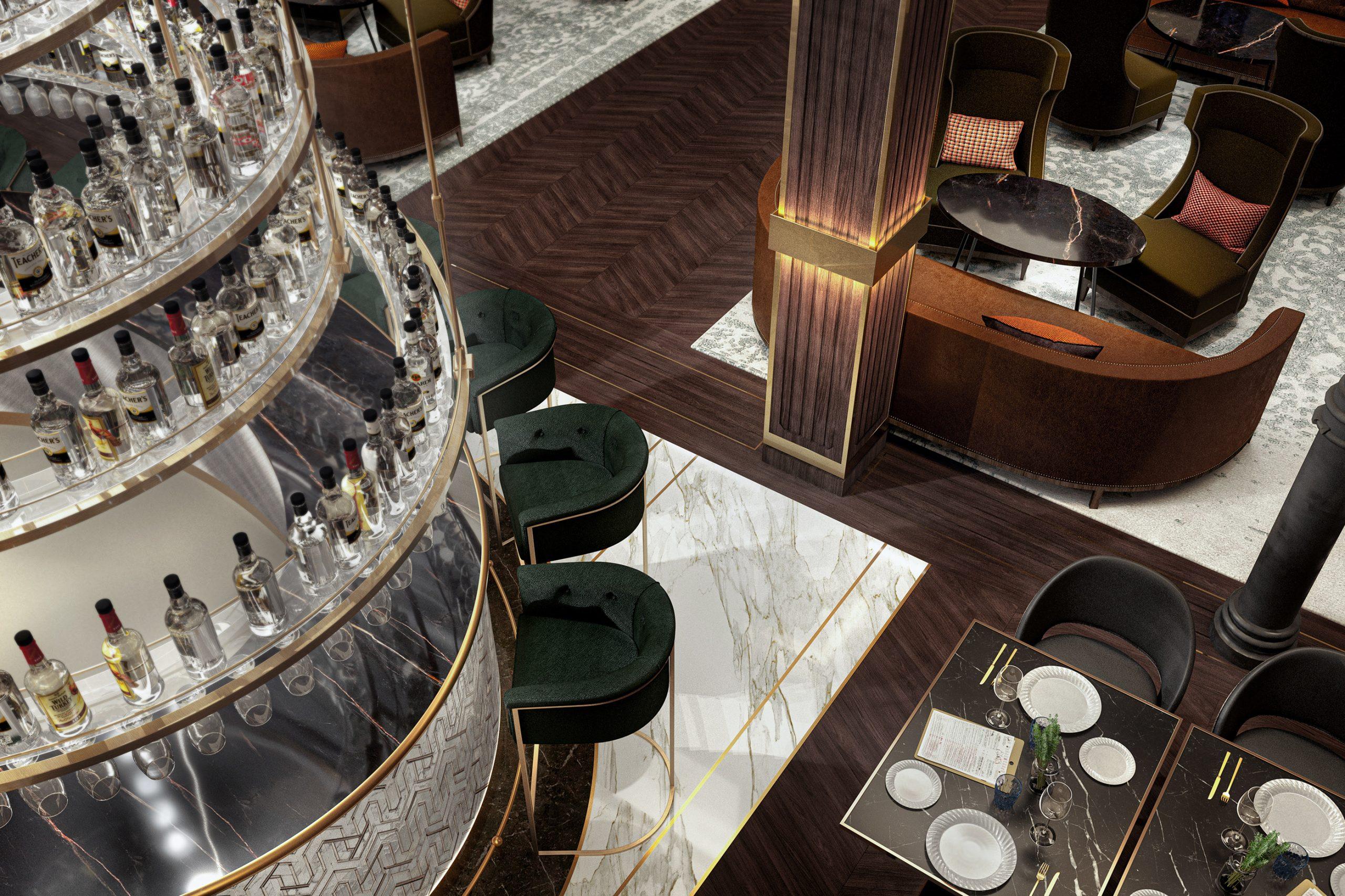 visualización arquitectónica de bar de hotel