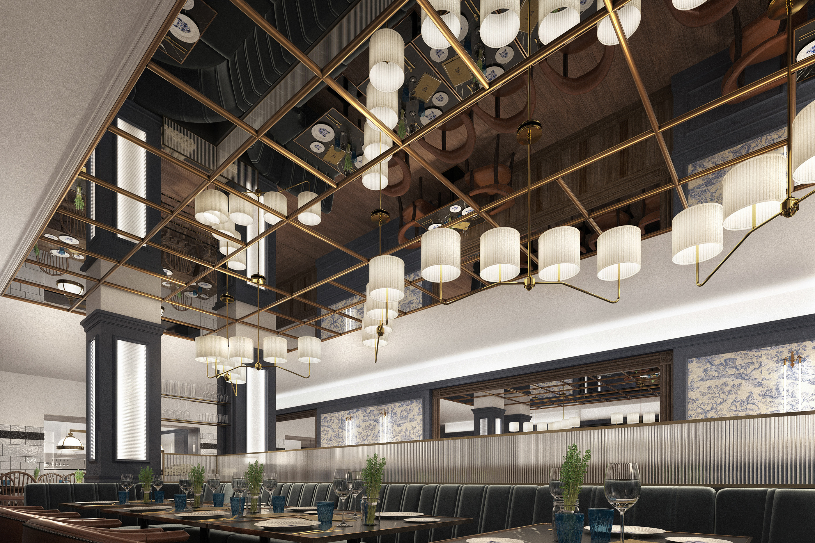 architectural render of hotel dining room