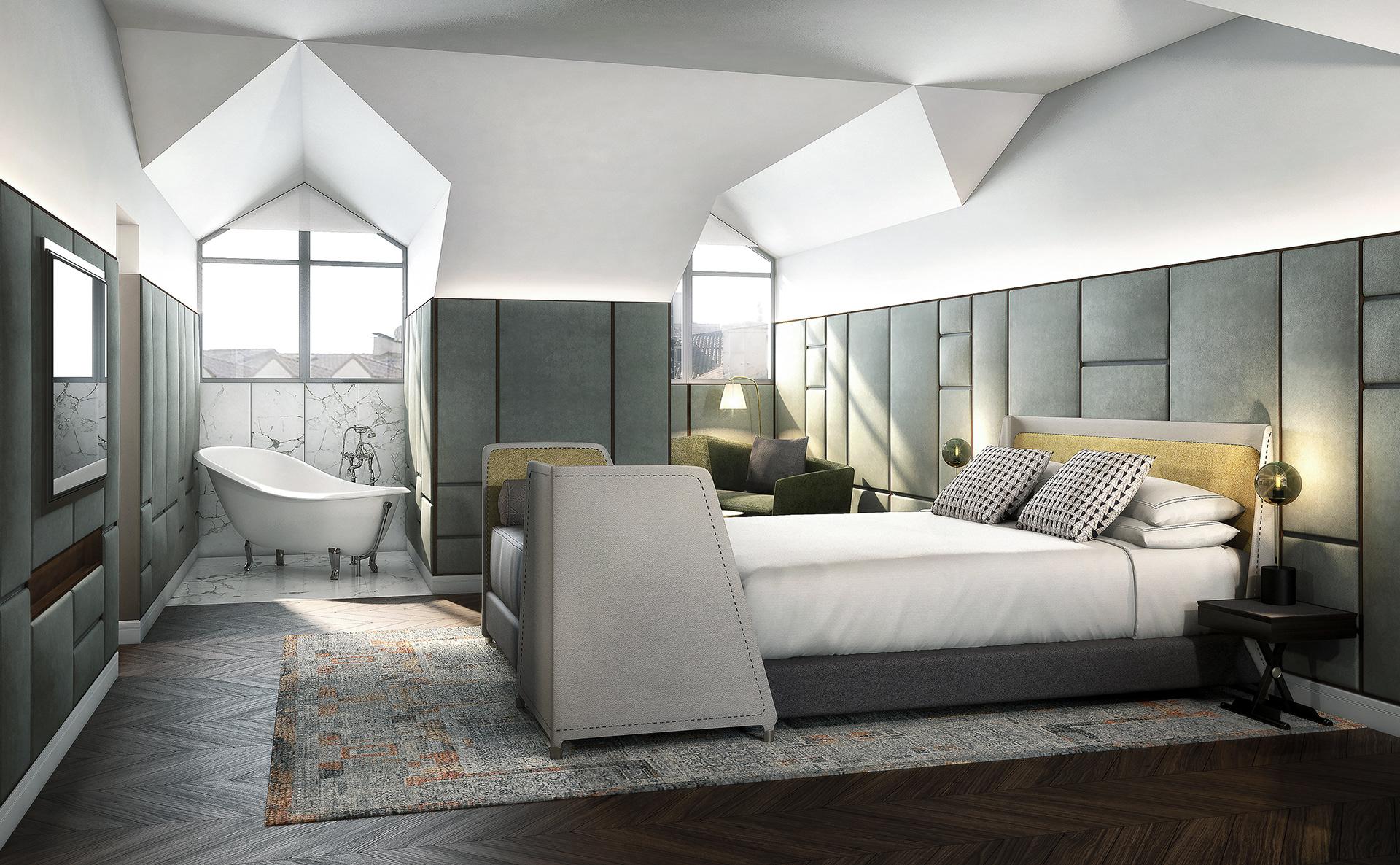 visualización arquitectónica de hotel inglés