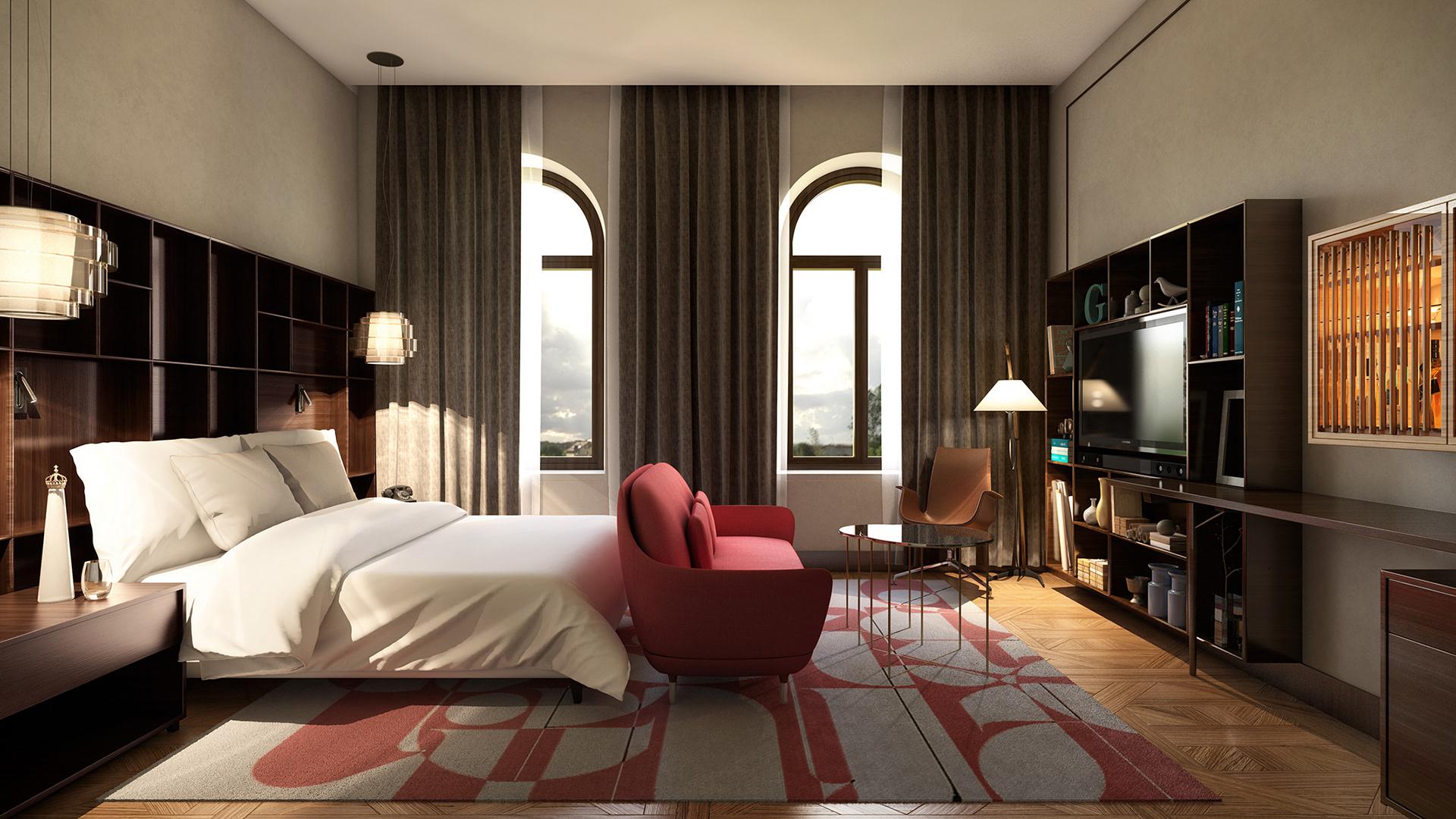 visualización arquitectónica de dormitorio en dubai