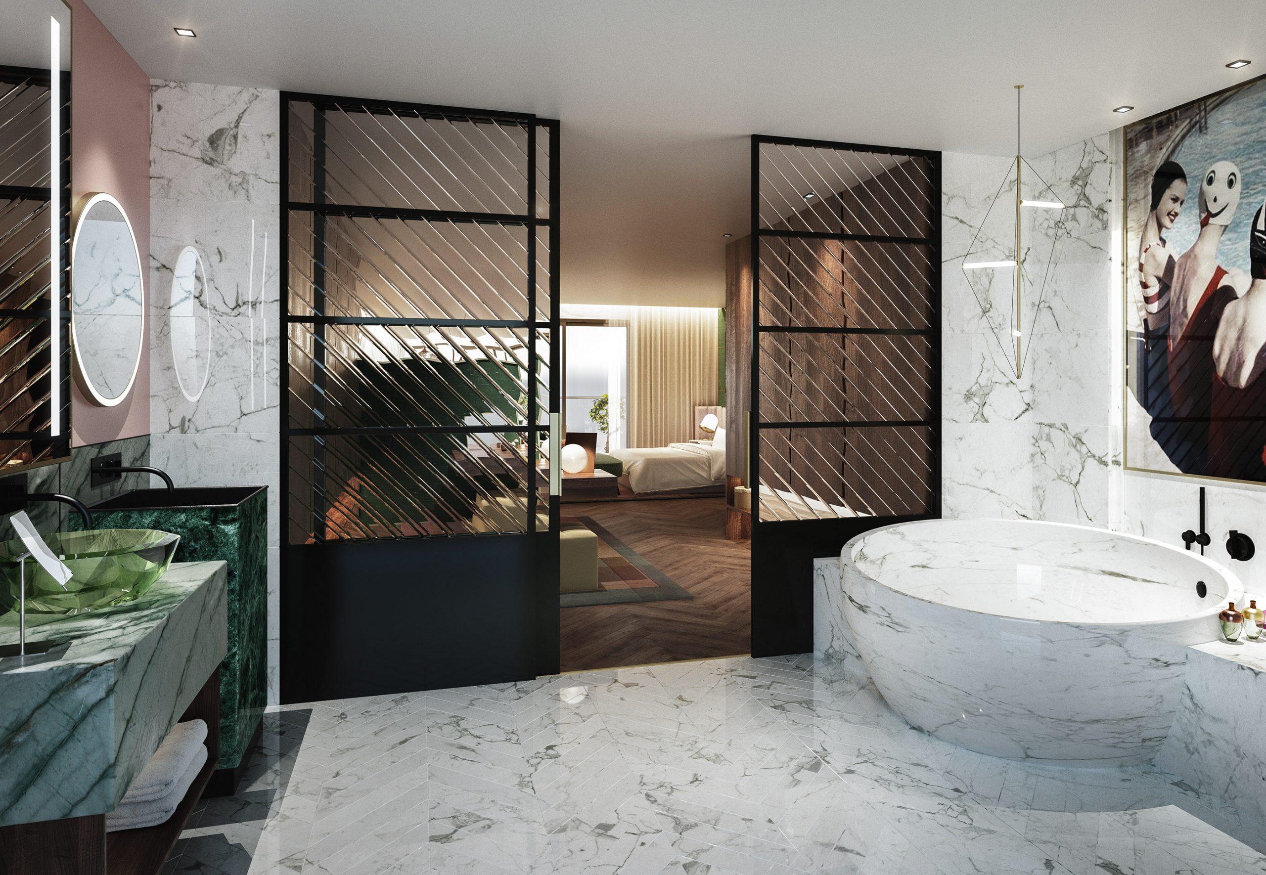 visualización arquitectónica de baño de hotel