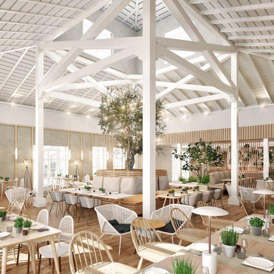 visualización arquitectónica de restaurante